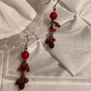 Vintage Chico's Red and Bronze Bead Earrings
